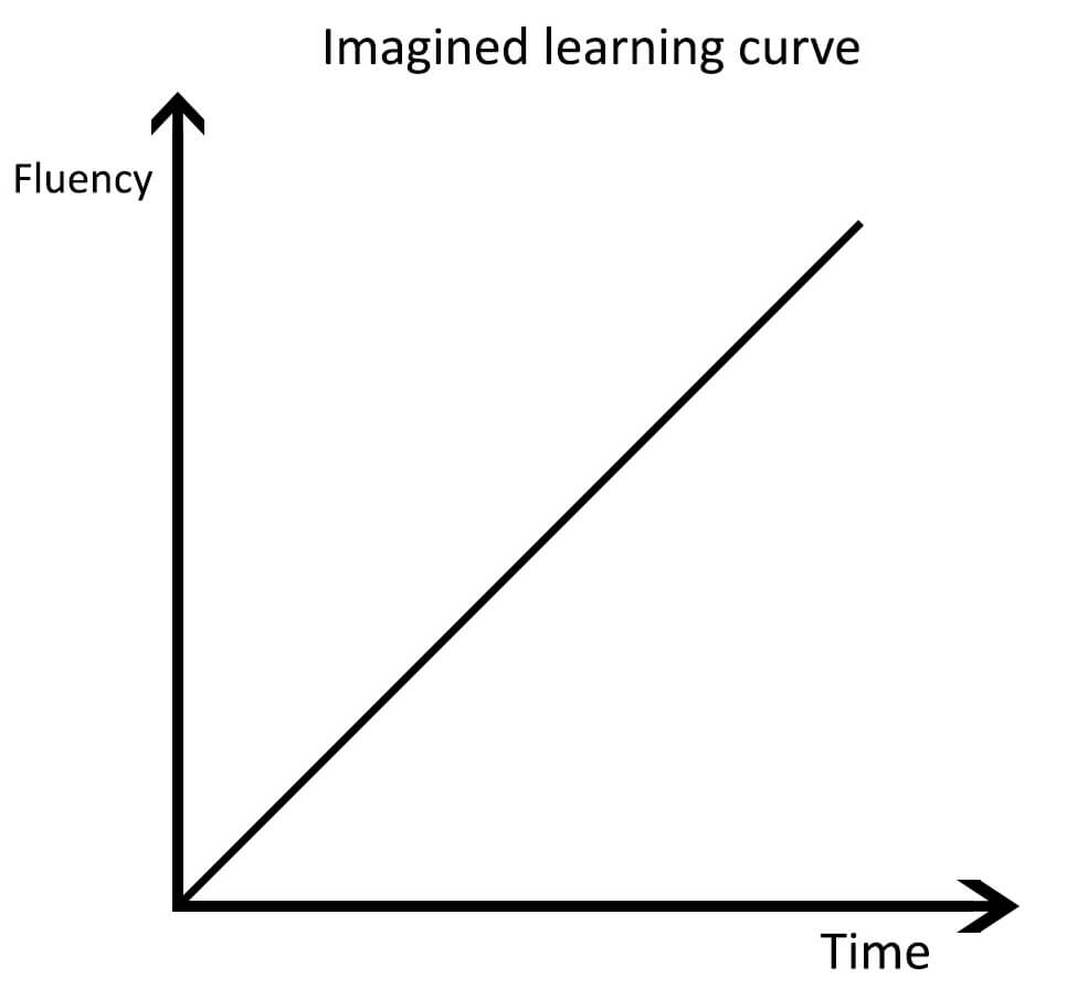 Imagined learning curve - lingholic dot com